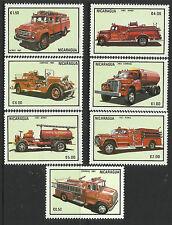 NICARAGUA 1983 FIRE ENGINES 7v MNH