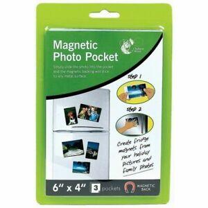 "6"" X 4"" MAGNETIC PHOTO 3 POCKETS FRAME HOLDER FRIDGE MAGNET PHOTOGRAPHS"