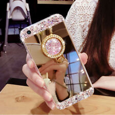 Bling Diamond Crystal Ring Holder Kickstand Mirror Case Cover For iPhone/Galaxy