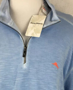 NWT! Tommy Bahama 1/4 Zip Pullover Sweater L/S Marlin Blue 3XL (Fits 4XL)