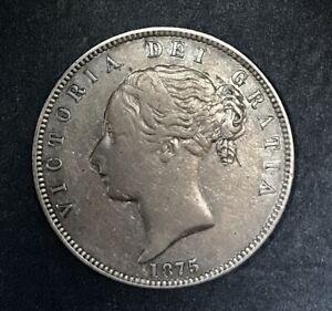 Great Britain 1875 Queen Victoria Half Crown, Better Circ. Grade
