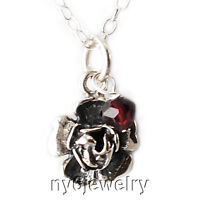 Darling! All Sterling Silver Rose Charm Necklace w/Custom Birthstone Accent 16""