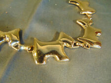 "Lady's chain belt adjustable 9 Schnauzer dogs goldtone metal 41"" puppy leash art"