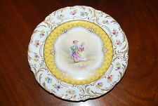 Beautiful Old German Dresden Style H P Flowers Romantic Cabinet Wall Plate # 3
