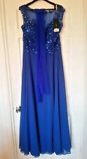 dynasty curve beaded embellished cruise party dress gown uk 18 blue