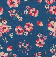 Dark Shade Floral Lightweight Printed Denim Craft Fabric Thin 100% Cotton Dress