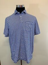 Ralph Lauren Polo Athletic Adult Large Blue White Striped Short Sleeve Shirt