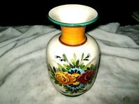 A Vintage European Incised Floral Rose Hand Painted Studio Pottery Vase