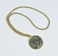Gold Medallion Necklace Long Chain Pendant Medallion Fancy Dress Accessory BA314