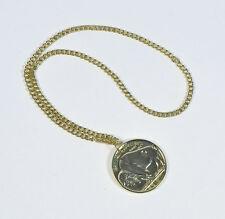 Gold Necklace Long Chain Medallion Pendant Medallion Fancy Dress Accessory BA314
