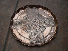 """Arts & Crafts Copper Salver or Tray with Etched Star/Flower pattern 7.75"""""""