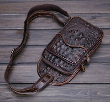 Men Genuine Leather Single Shoulder Crocodile Sling Chest Pack Messenger Bag