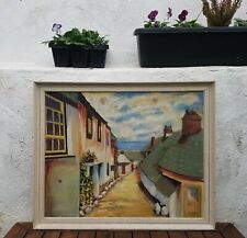 Original Old Vintage 1960's Cornwall Oil Painting Clovelly Devon Signed