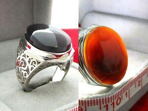 Yemen black transparent agate silver ring - Akik- خاتم عقيق يمني اسود شفاف