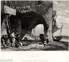 Venezia: Isola di Mazzorbo.Laguna Veneta.Acciaio.Stampa Antica.Passepartout.1832