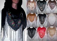Modisches Dreiecktuch, Halstuch, Schal mit Fransen in div. Design's und Farben