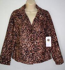 Gloria Vanderbilt Casual Blazer Size S Brown & Gold Print Career Jacket Orig $54