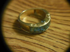 MENS BLUE STONE TOPAZ SOLID18K YELLOW GOLD RING K18 5.2 GRAMS SIZE 7  LADIES