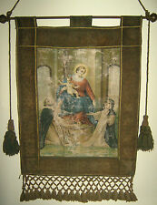 "Reliquia/Arte Sacra/Stendardo In Tela ""MADONNA DEL ROSARIO"" Sicilia Fine ' 800"