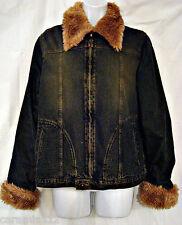 Steve Madden Jacket Blue Denim Faux Fur Lining Lined Zipper Front size Small Vtg
