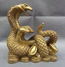 Chinese Brass Year Zodiac Wealth YuanBao Full Coin RuYi Snake Head Statue Animal