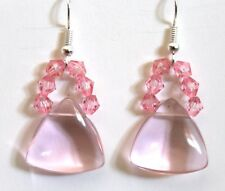 unique Pink bead crystal earrings