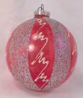 Vintage Christmas Ornament Blown Glass Red Silver Glitter Stripes W Germany #160