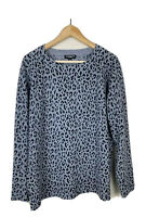 Repeat Cashmere Pullover Sweater Womens 40 Medium Leopard Print Gray Black