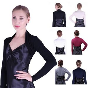 Womens Long Sleeve Shrug Bolero Cropped Knit Stretch Cardigan Short Top Sweater