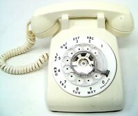 Vintage 1972 Western Electric C/D 500 Rotary Bell System White/Cream Desk Phone
