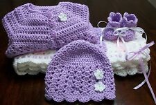NEW Handmade Crochet Baby Blanket Afghan set ( white purple pink ) Newborn