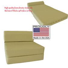 Full Size Tan Sleeper Chair Folding Foam Bed 6 x 48 x 72, 1.8 lb Density Foam