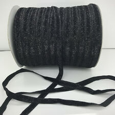 "DIY 5 yards 3/8""10mm Black Sparkle Glitter Velvet Ribbon Headband Craft supplies"