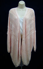 H&M Drape Wrap Open Cardigan Sweater Women Size M Pink Long Sleeve Curve Hem HM