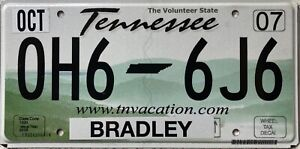 Tennessee Bradley County American License Licence USA Number Plate Tag OH6 6J6