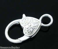 10 Silver Plated Heart Shape Lobster Clasps 25x13mm