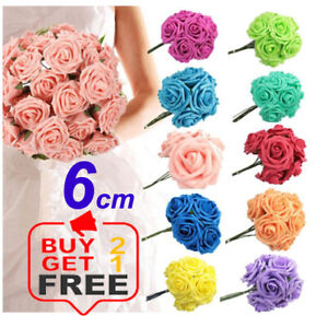 SIZE 6CM FOAM ROSES Foam Flower With Stem Artificial Wedding Bouquet DECORATION