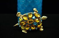 GOLD PLATED 925 STERLING SILVER LARGE TURTLE CITRINE & BLUE CZ PIN BROOCH #18056