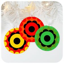 Retro 70s style Christmas Tree Decorations (x3), Colourful 1970s Vintage Style