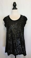 GABRIELLA FRATTINI ~ Dressy Black Longline Cap Sleeve Rayon Knit Sequin Top 12
