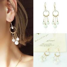 Women Gold Drop Earrings Pearls Beads Dangle Ear Studs Earrings Fashion Jewelry