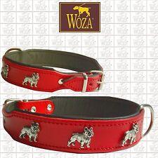 Premium French Bulldog Collar WOZA full Leather Padded Soft Cow's Napa CO23766