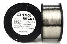 TEMCo Pure Nickel Wire 34 Gauge 1.5 lb non resistance AWG Ni200 Nickel 200 ga
