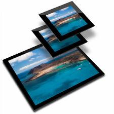 Glass Placemat  & 2x Coaster  - Lobos Island Fuerteventura Canaries  #16565