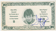 1977-78 TOM BLADON 8 POINTS IN A GAME SIGNED PHOTO CARD PHILADELPHIA FLYERS SGA