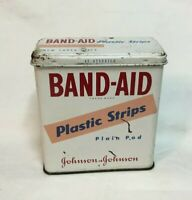 *Vintage Advertising Tin JOHNSON & JOHNSON BAND AID Tin Plastic Strips Plain Pad