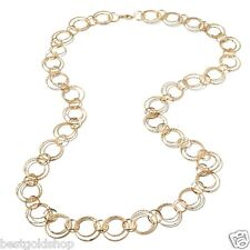 "36"" Bellezza Diamond Cut Multi Circle Link Chain Necklace Yellow Solid Bronze"