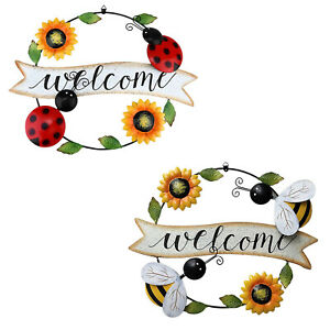 Vintage Metal Sunflower Welcome Sign Decorative Spring Door Wreath Hanging Sign