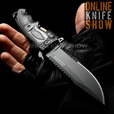 TAC FORCE BLACK TACTICAL BOWIE KNIFE Spring Assisted Rescue Pocket Sawback Blade