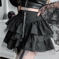 Women's Punk Lace-up Zipper High Waist Multilayer Ruffle Hem Flared Mini Skirt